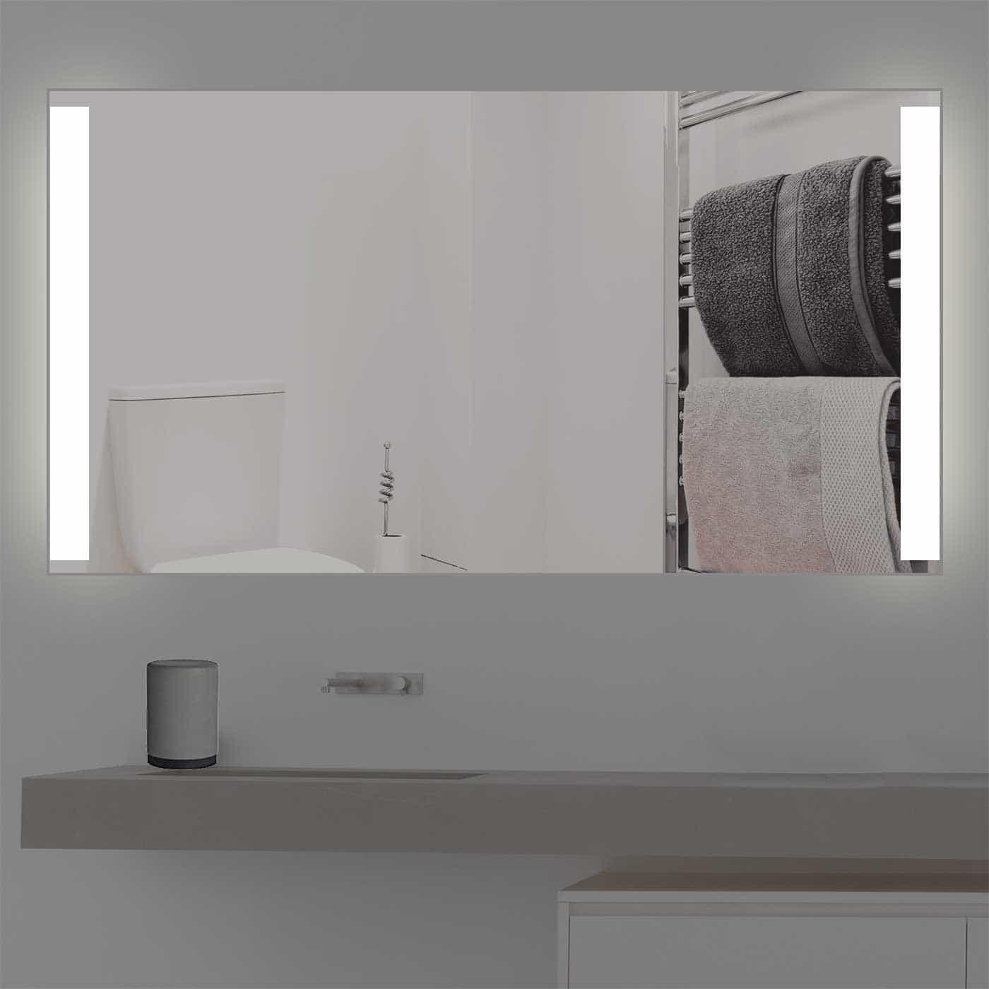 Badspiegel mit Beleuchtung beidseitige Satinierung | K 206