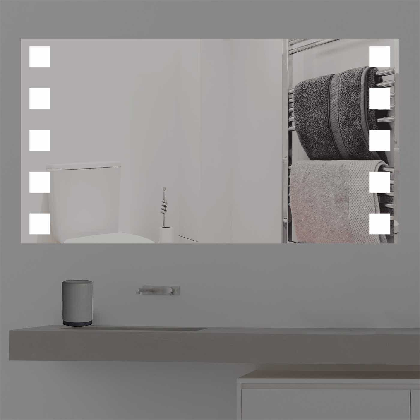 Badspiegel mit quadratischen Beleuchtung