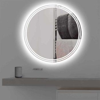 Badspiegel mit Beleuchtung auf 3 Streifen in kaltweiss
