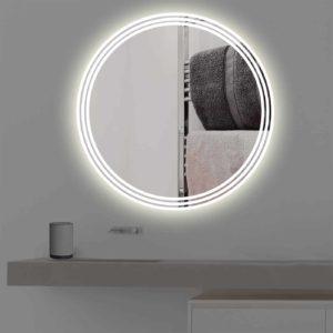 badspiegel mit beleuchtung auf 3 streifen rund r 400. Black Bedroom Furniture Sets. Home Design Ideas