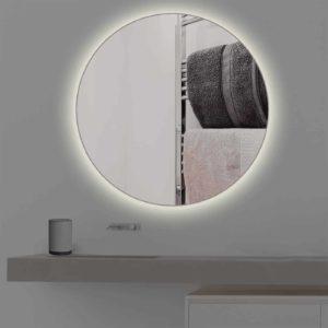 Runder Badspiegel mit Beleuchtung in warmweiss