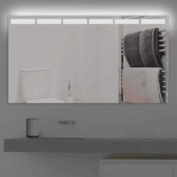 Badspiegel LED beleuchtet mit abgetrennten Streifen| K 216 kaltweiss