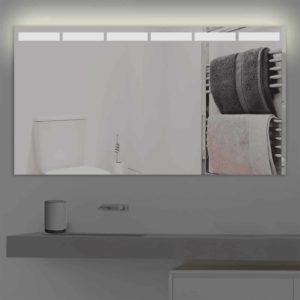 Badspiegel LED beleuchtet mit abgetrennten Streifen| K 216 warmweiss