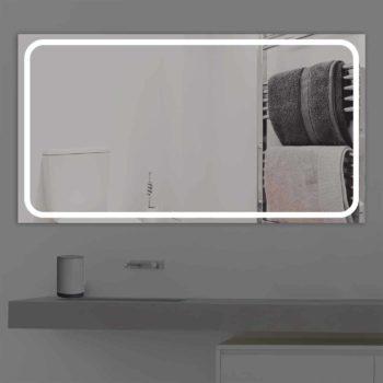 Badspiegel LED beleuchtet schmale Streifen | K 218