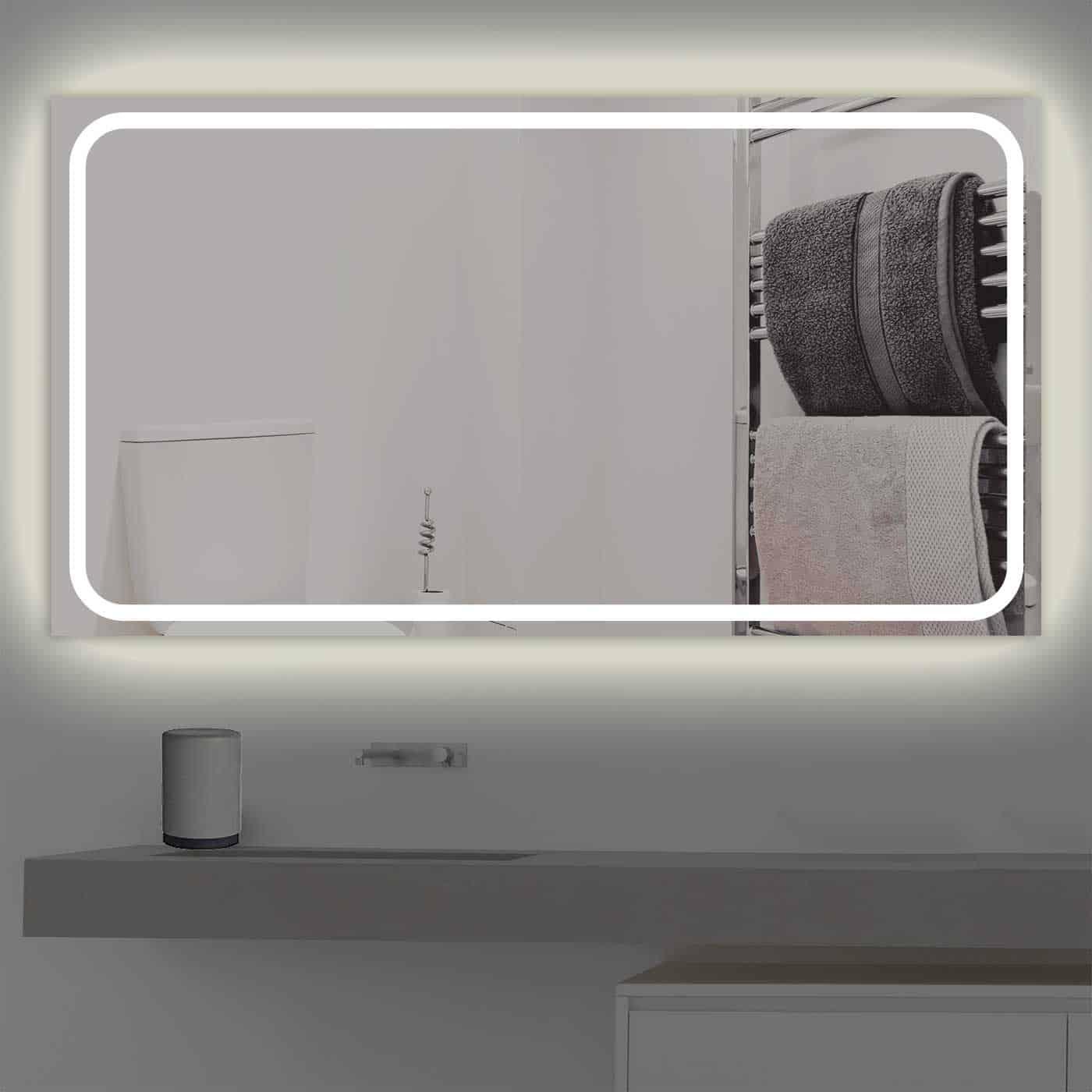Badspiegel LED beleuchtet schmale Streifen | K 218 warmweiss