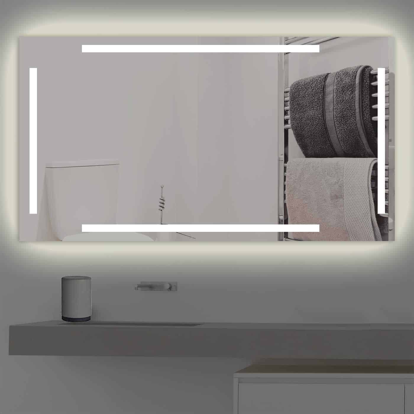 Badspiegel LED beleuchtet vier schmalen Streifen   K 221 warmweiss