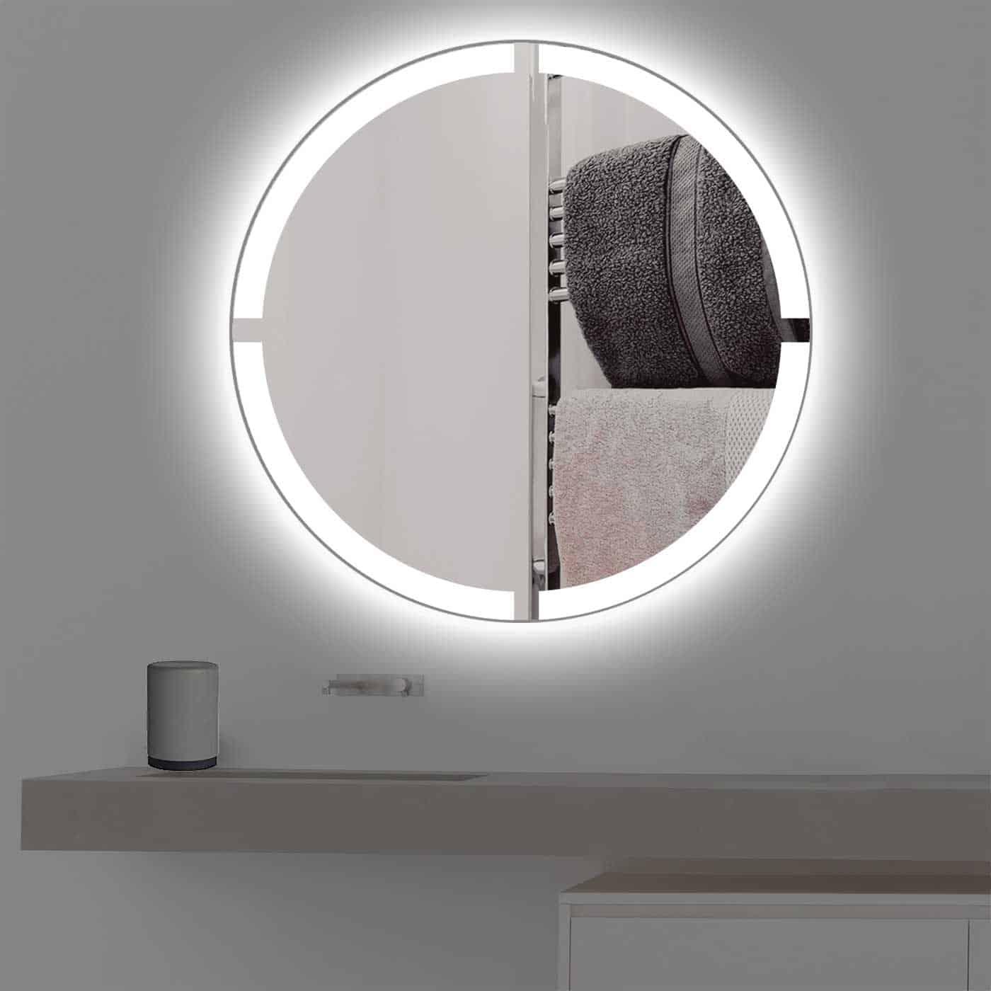 Badspiegel mit Beleuchtung in kreuz | rund | R 403 in kaltweiss