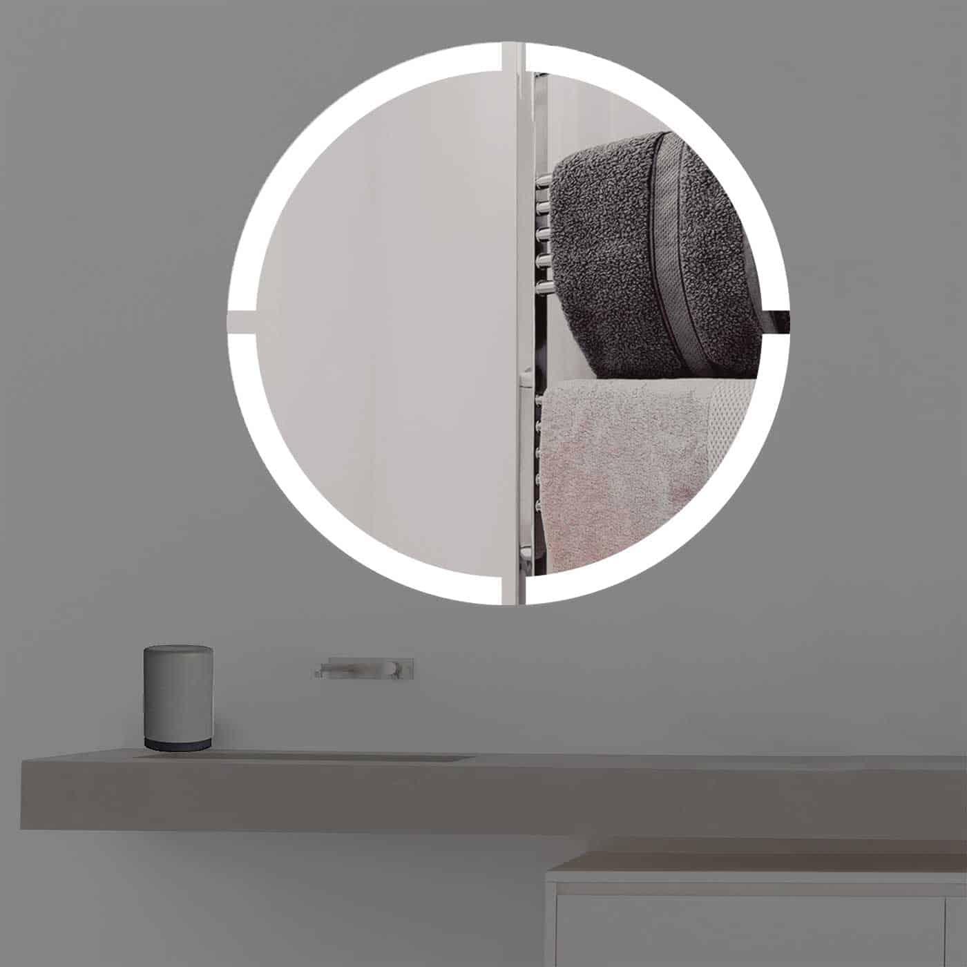 Badspiegel mit Beleuchtung in kreuz | rund | R 403