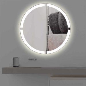 Badspiegel mit Beleuchtung in kreuz   rund   R 403 in warmweiss