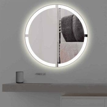 Badspiegel mit Beleuchtung in kreuz | rund | R 403 in warmweiss