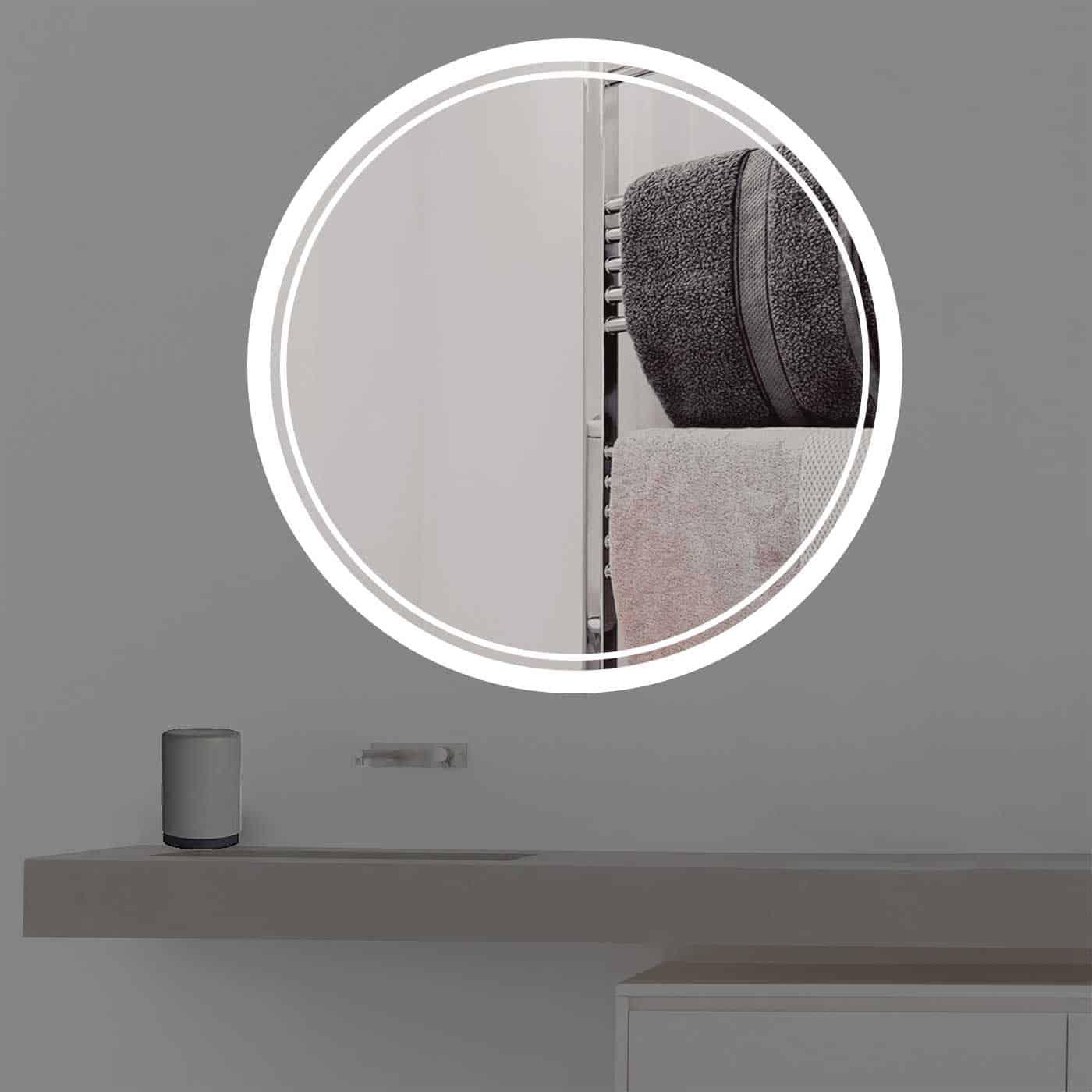 Extrem Badspiegel mit Beleuchtung | rund | R 404 |TÜV geprüft| CE19