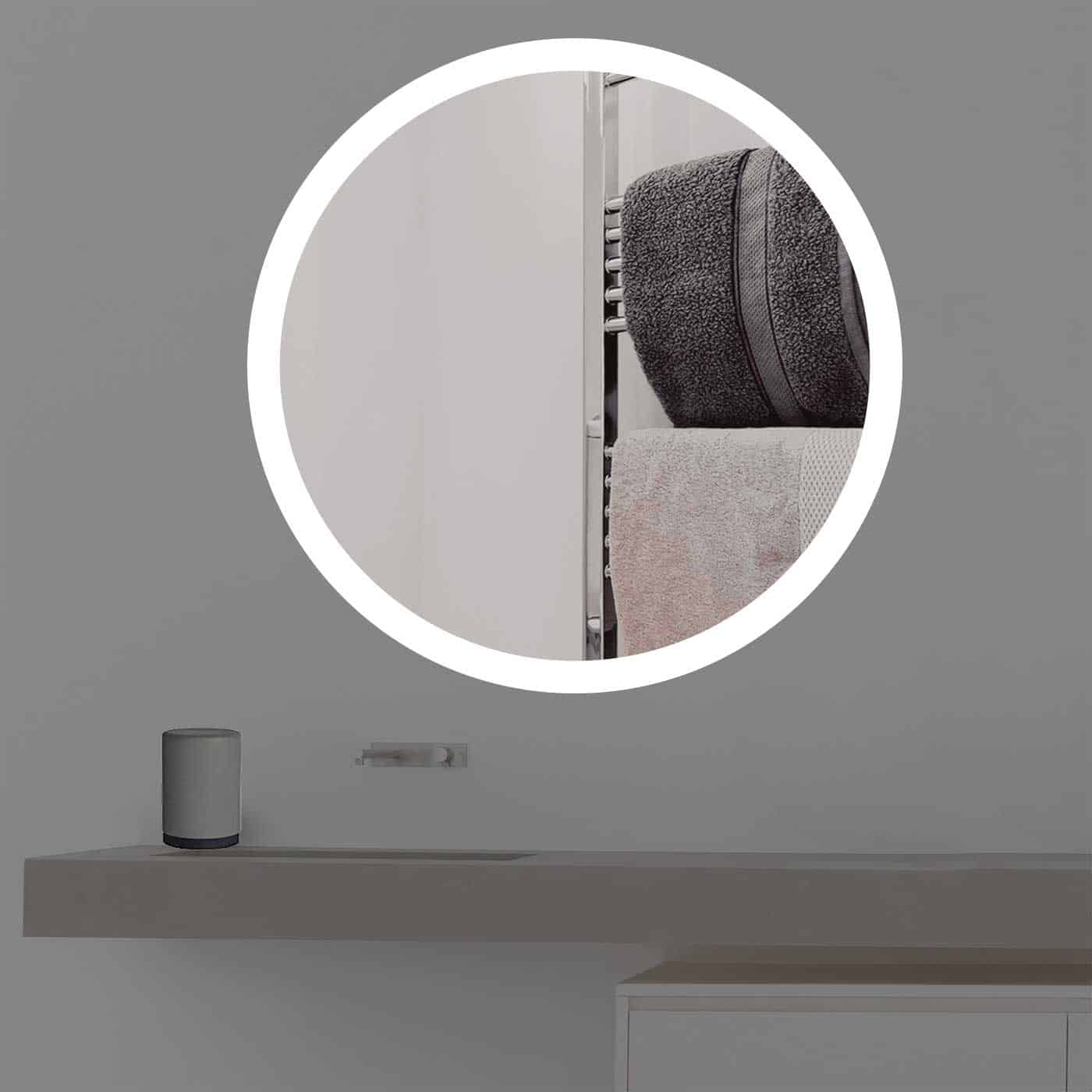Spiegel mit beleuchtung rund  Wandspiegel beleuchtet rund Led R 405